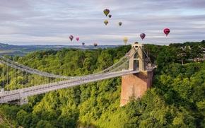 Picture bridge, balloons, England, panorama, England, Bristol, Bristol, Avon Gorge, Clifton Suspension Bridge, Clifton, Clifton suspension ...