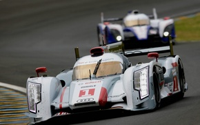 Picture the audi r18 e-tron quattro, toyota TS030 Hybrid, 24 hours of le mans