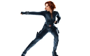 Picture look, pose, background, actress, Scarlett Johansson, costume, Hollywood, red, girl, Scarlett Johansson, character, black, marvel, …