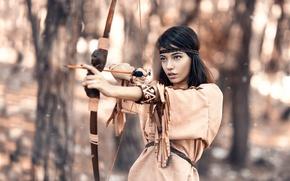 Picture girl, bow, arrow, Alessandro Di Cicco, Native Hunter