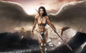Picture chest, girl, mountains, body, tummy, wings, beauty, angel, spear, nicole
