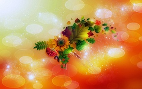 Picture leaves, light, flowers, berries, collage, ear, bouquet, Blik