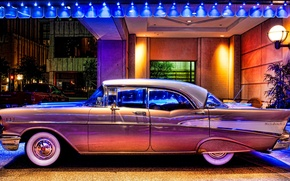Picture lights, retro, street, lantern, Chevy, 1957