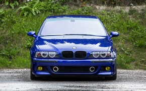 Picture blue, reflection, bmw, BMW, blue, the front, e39