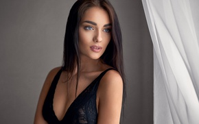 Picture girl, portrait, makeup, brunette, hairstyle, curtains, beauty, in black, Milan R