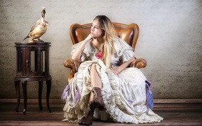Picture girl, bird, chair, shoes, dress