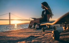 Wallpaper girl, the sun, bridge, skate