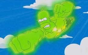 Picture Green, Homer Simpson, Cartoon, Fly, Radiation