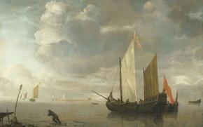 Picture boat, ship, picture, sail, Hendrik Jacobs, Dubbels, Calm Sea