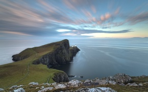 Picture sea, the sky, clouds, the ocean, rocks, lighthouse, Scotland, on the edge