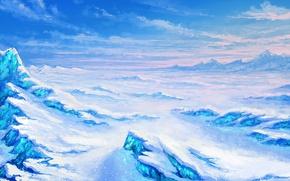 Picture snow, art, painted landscape