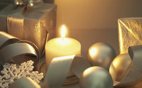 Wallpaper winter, snow, snowflakes, gift, balls, toys, new year, candle, gold, holidays, Christmas