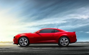 Picture The sky, Red, Chevrolet, Wheel, Asphalt, Chevrolet, camaro, Coupe, Side view