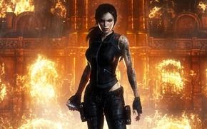 Picture fire, lara croft, tomb raider underworld