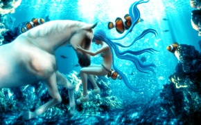 Picture fish, fantasy, Hatsune Miku, Vocaloid, under water, white horse, 3d graphics