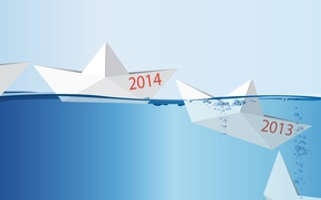 Picture concept, happy new year, Happy New year, 2014, the concept, Origami, ship in water, the ...