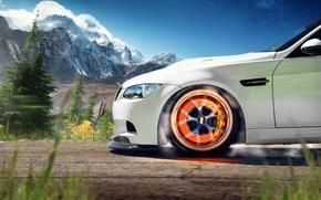 Picture white, mountains, BMW, BMW, white, front, caliper, 3 Series, brake disc