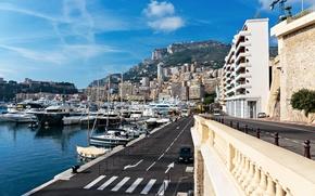 Picture road, mountains, yacht, pier, Monaco, Monaco, Monte Carlo, Houses, Marinas