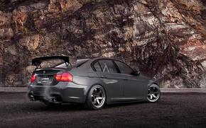 Picture rock, BMW, BMW, black, 335i, rear, the rear part, E90, 3 Series