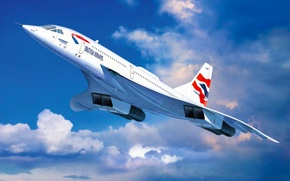 Picture art, airplane, painting, aviation, jet, Concorde British Airways