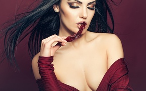 Picture face, model, hair, hands, makeup, lips, beauty