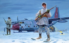 Wallpaper dogs, snow, the plane, figure, Alaska, Mort Kunstler, the Eskimos, guardians of the North, sleds, ...