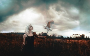 Picture girl, background, bird