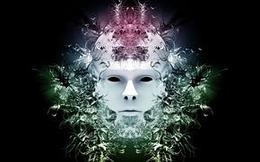 Wallpaper mystery, mask, face, white, black