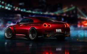 Picture Nissan, Red, GT-R, NFS, R35, 2015, Ligth, Nigth