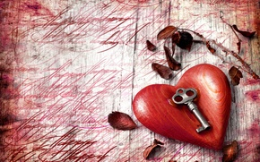 Picture leaves, holiday, heart, Valentine's Day, key
