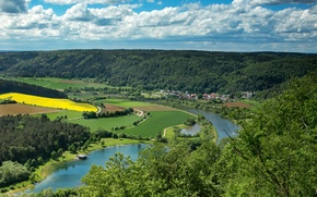 Picture clouds, river, field, Germany, Bayern, panorama, forest, Riedenburg