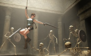 Picture sword, rope, skeleton, Tomb Raider, sword, shield, art, Lara Croft, shield, Shotgun, fan, Shotgun