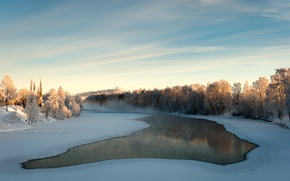 Picture ice, winter, water, snow, trees, fog, river, haze