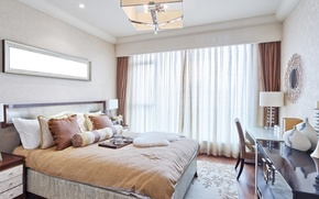 Picture room, lamp, bed, pillow, mirror, table, bedroom