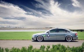 Picture grey, Audi, Audi, profile, sports car, track, grey