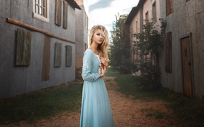 Picture girl, home, dress, blonde, Alisa Tarasenko