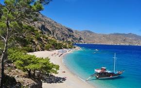 Wallpaper sea, summer, beach, yacht, Greece