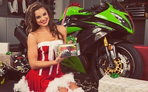 Picture look, smile, Girls, girl Dessie, posing sitting on a motorcycle Kawasaki Ninja ZX-6R