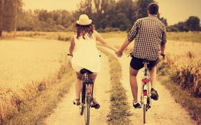 Picture girl, love, nature, bike, background, stay, Wallpaper, mood, woman, hat, pair, wallpaper, male, love, hat, ...