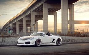 Picture white, bridge, Porsche, white, Porsche, Boxster, Spyder