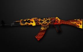 Picture background, flame, mesh, skull, gold, AK-47, bronze, paint, workshop, cs go, gunsmith, purgatory