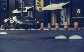 Picture Lamborghini, Shooting, Front, Black, LP700-4, Aventador, Photography, Supercar