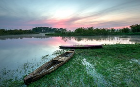 Picture summer, lake, dawn, boats, morning, Poland, The Biebrza national Park