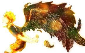 Picture wings, anime, art, guy, hinata shouyou, haikyuu!!