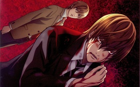Picture blood, costume, tie, death note, death note, wound, yagami light, kira, by takeshi obata