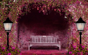 Picture flowers, bench, pink, lights, arch, spring garden
