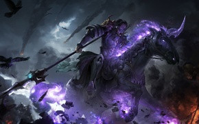 Picture flame, horse, battle, warrior, art, knight