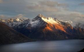 Picture winter, snow, mountains, lake, New Zealand, Queenstown, Walter Peak