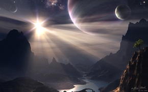 Wallpaper tree, planet, mountains
