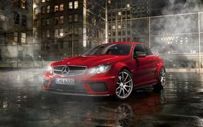 Picture night, street, Parking, Mercedes, amg, Mercedes Benz C63